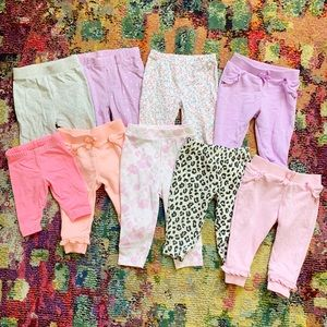 9 piece baby girl pants lot - 6-9 months